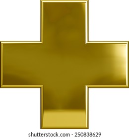 Gold metal plus cross symbol isolated on white. Including clipping path. Part of complete alphabet set.