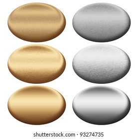 gold metal silver texture oval boards or egg shape plates