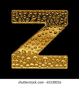 Gold metal three-dimensional alphabet symbol - letter Z. Covered with drops of clear water on glossy metal. Isolated on black