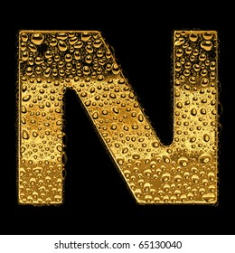Gold metal three-dimensional alphabet symbol - letter N. Covered with drops of clear water on glossy metal. Isolated on black