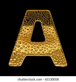 Gold metal three-dimensional alphabet symbol - letter A. Covered with drops of clear water on glossy metal. Isolated on black