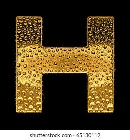 Gold metal three-dimensional alphabet symbol - letter H. Covered with drops of clear water on glossy metal. Isolated on black