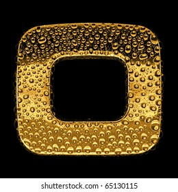 Gold metal three-dimensional alphabet symbol - digit 0. Covered with drops of clear water on glossy metal. Isolated on black