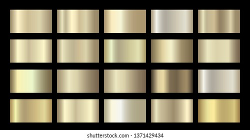 Gold Metallic, bronze, silver, chrome, copper metal foil texture gradient template. Golden swatch set. Metallic gold gradient illustration gradation for backgrounds, banner, rings, ribbons