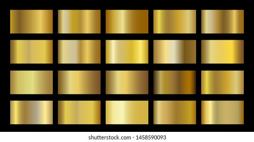 Gold Metallic metal foil texture gradient template. Golden swatch set. Metallic gold gradient illustration gradation for backgrounds, banner, rings, ribbons