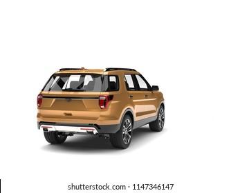 Gold metallic modern SUV car - back view - 3D Illustration