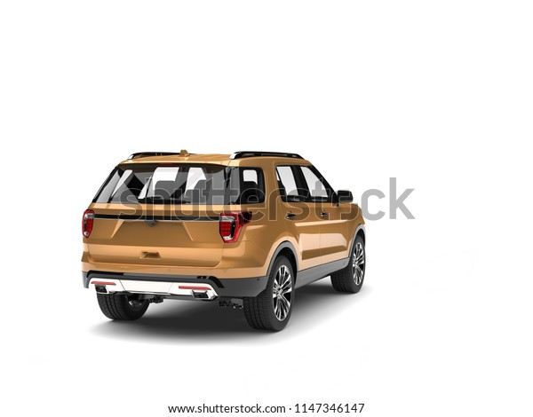 Gold metallic modern SUV car - back view - 3D Illustration