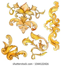 Gold monogram floral ornament. Baroque design elements. Watercolor background illustration set. Watercolour drawing fashion aquarelle. Isolated monogram illustration element.