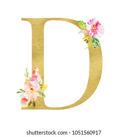 Gold Monogram Letters with Watercolor Flowers