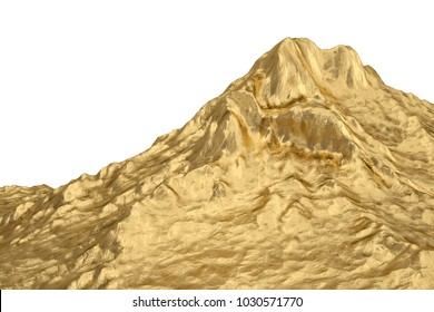 Gold mountain.3D illustration.
