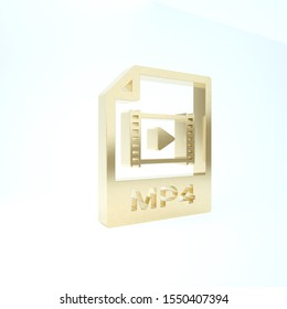 Gold MP4 file document. Download mp4 button icon isolated on white background. MP4 file symbol. 3d illustration 3D render