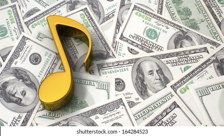 Gold music note on the background of one hundred dollar bills