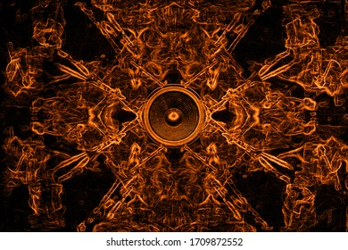 Gold music speaker and swirls on a black background