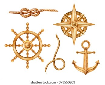 gold nautical elements, rigging symbols, compass, anchor, steering-wheel, rope, knot, watercolor illustration, isolated on white background