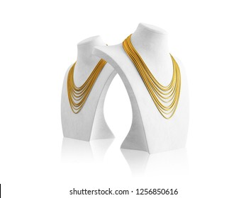 Gold necklaces on white mannequin. 3D render
