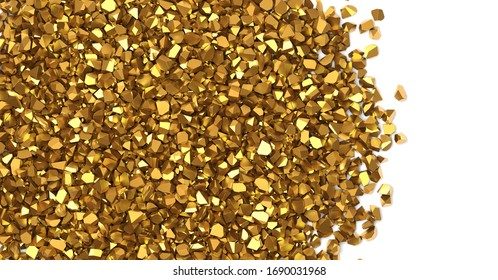 Gold nuggets on white background 3D rendering