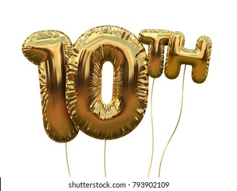 Gold number 10 foil birthday balloon isolated on white. Golden party celebration. 3D Rendering