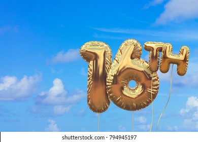 Gold number 16 foil birthday balloon against a bright blue summer sky. Golden party celebration. 3D Rendering