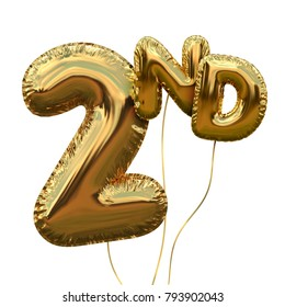 Gold number 2 foil birthday balloon isolated on white. Golden party celebration. 3D Rendering