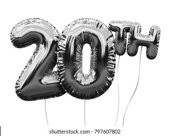 Gold number 20 foil birthday balloon isolated on white. Golden party celebration. 3D Rendering