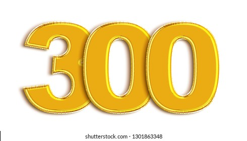 Gold number 300 isolated on white background.3d illustration