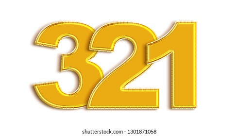 Gold number 321 isolated on white background.3d illustration