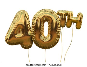 Gold number 40 foil birthday balloon isolated on white. Golden party celebration. 3D Rendering