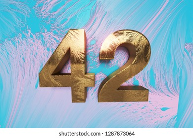 gold number 42 on pink cyanide abstract background