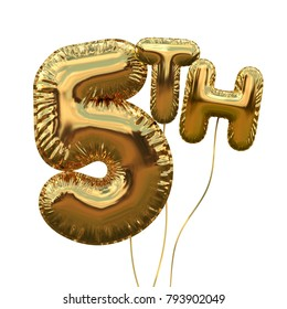 Gold number 5 foil birthday balloon isolated on white. Golden party celebration. 3D Rendering