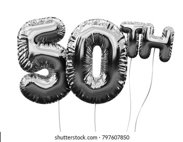 Gold number 50 foil birthday balloon isolated on white. Golden party celebration. 3D Rendering