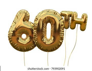 Gold number 60 foil birthday balloon isolated on white. Golden party celebration. 3D Rendering
