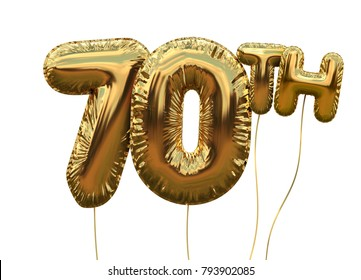 Gold number 70 foil birthday balloon isolated on white. Golden party celebration. 3D Rendering