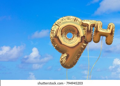 Gold number 9 foil birthday balloon against a bright blue summer sky. Golden party celebration. 3D Rendering