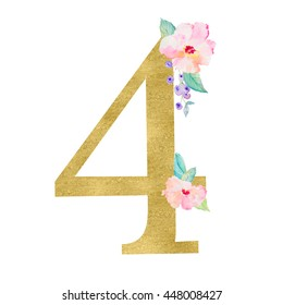 Gold Number With Watercolor Flowers Perfect for Little Girls 4th Birthday