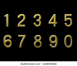 Gold  numbers  0 to 9. Realistic 3d render