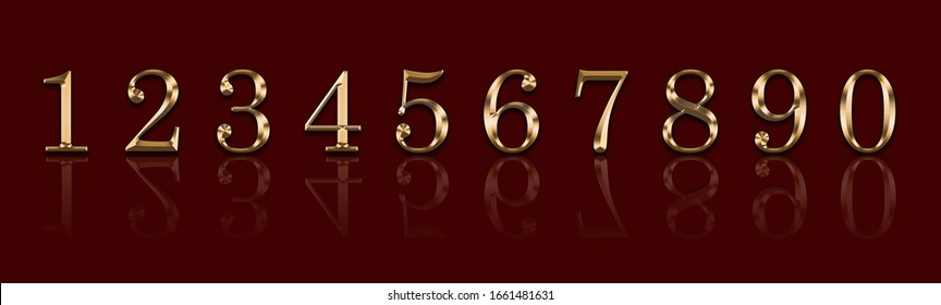Gold numbers 1,2,3,4,5,6,7,8,9,9 on a red background