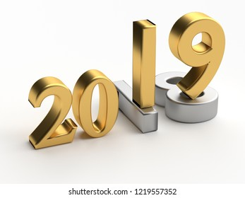 Gold numbers of New Year 2019 over grey old 2018. 3d render