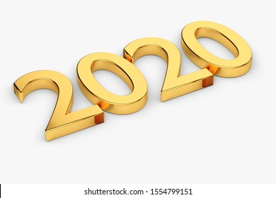 Gold numbers of New Year 2020 lies on white. 3d render