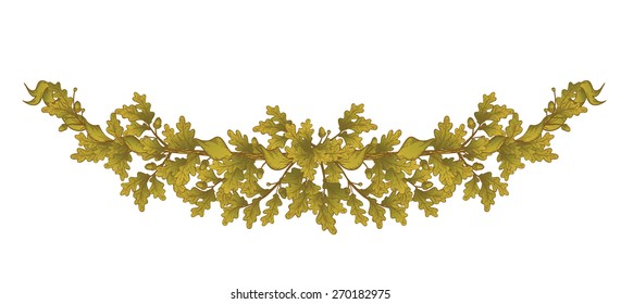 Gold Oak branch , isolated on white