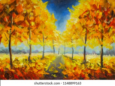 Gold orange autumn park forest trees fall  leaf foliage landscape nature oil painting impressionism illustration on canvas