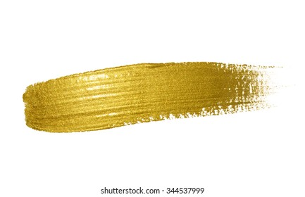 Gold paint brush stroke. Abstract gold glittering textured art illustration.