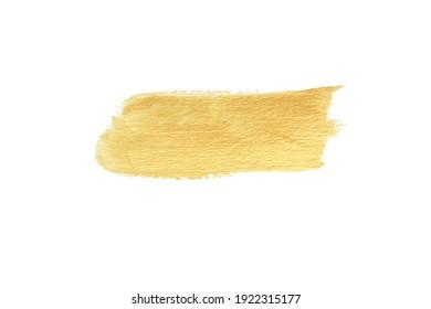 Gold paint stroke set. Gold brush abstract art illustration. Gold glittering design art brush stroke. creative set yellow paint isolated collection. Design golden stroke effect brush color painting.