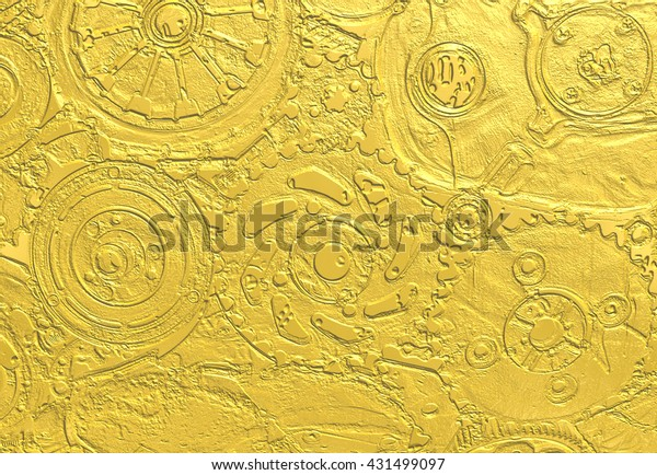 Gold Paper Texture Machinery Pattern Stock Illustration