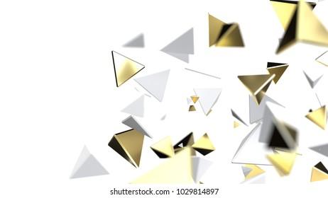 Gold particles, close up, 3d illustration