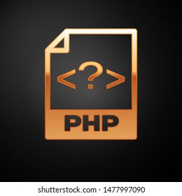 Gold PHP file document icon. Download php button icon isolated on black background. PHP file symbol