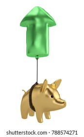 Gold piggy with arrow balloon white background.3D illustration.