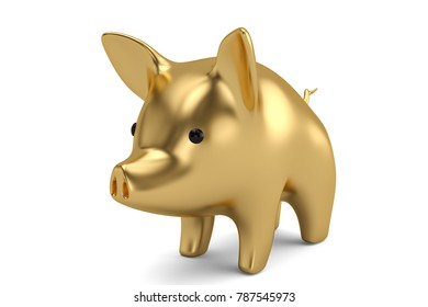 Gold piggy bank on white background 3D illustration.