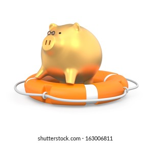 Gold piggy bank stand on a lifebuoy
