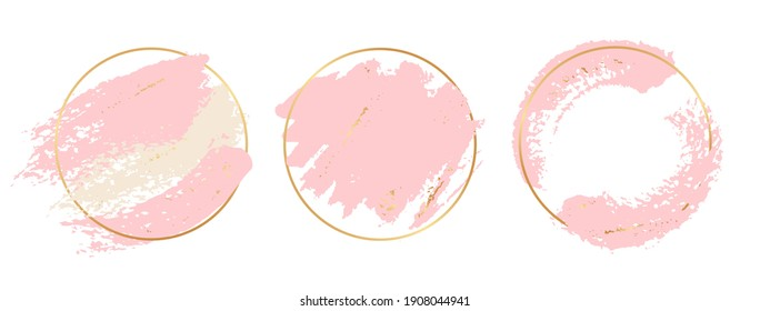Gold pink background. Circle gold frames with pastel pink brushes elements. brush strokes banners template