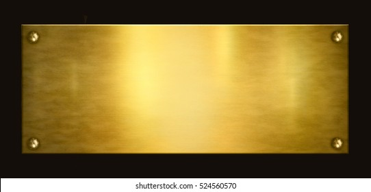 Gold plaque on a black background